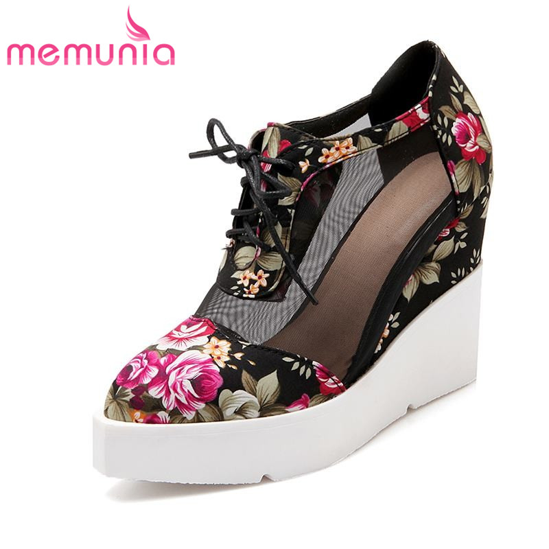 MEMUNIA plus size 34 42 new fashion wedges lace up pumps high heels spring  unique flower wedding women shoes-in Women s Pumps from Shoes on  Aliexpress.com ... 091540905388