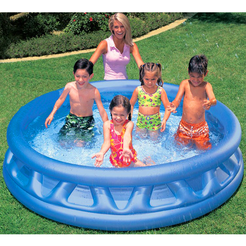 Plastic solid blue inflatable round Bottom drain hole large size 188*46cm Play water Play the ocean ball Family swimming pool thicker version deluxe edition 2 meters large family luxury inflatable swimming pool game pool children s play pool