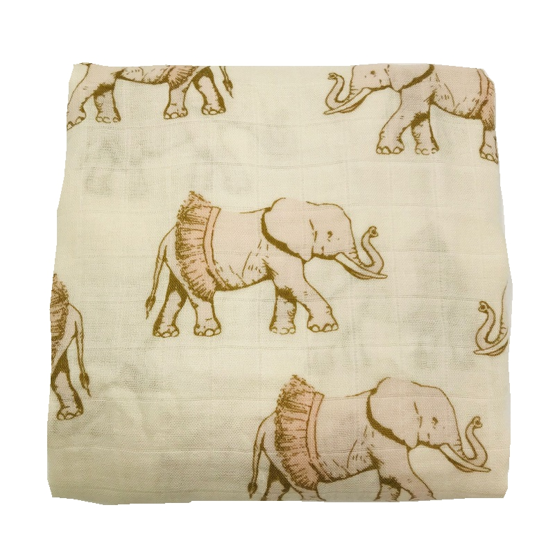 Active Printing Elephant Very Soft 70% Bamboo Fiber 30% Cotton Muslin Baby Blanket Blankets Swaddle For Newborn Bedding