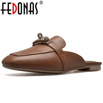 FEDONAS 2019 Spring Summer New Classic Square Toe Low Heels Women Pumps Solid Genuine Leather Mules Party Casual Shoes Woman