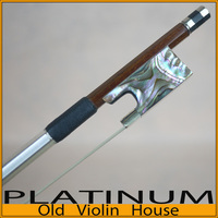 Silver Pernambuco Violin Bow with Abalone Shell Frog (4/4) ,Free shipping! Good balance of strength and flexibility.