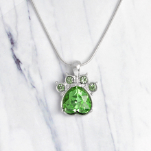 Cat paws & claws birthstone pendant