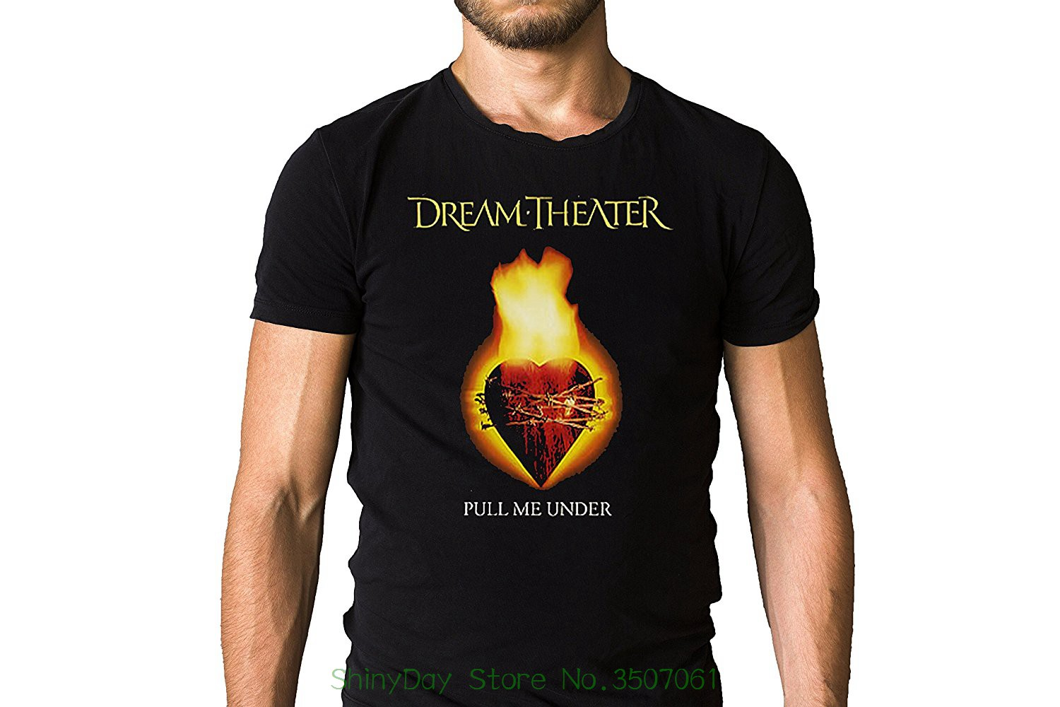Print T-shirt Mens Summer Dream Theater Images And Words 1992 Pull Me Under Burning Heart Album Inspired Black T-shirt