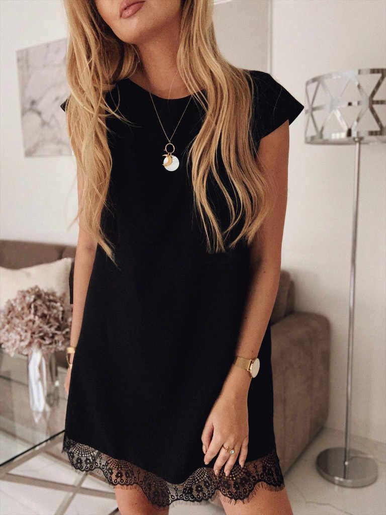 セクシーなドレス 2019 夏の女性のパーティーの夜黒、白ドレス半袖パッチワークレースドレス Vestidos デ · フェスタドロップ無料 c