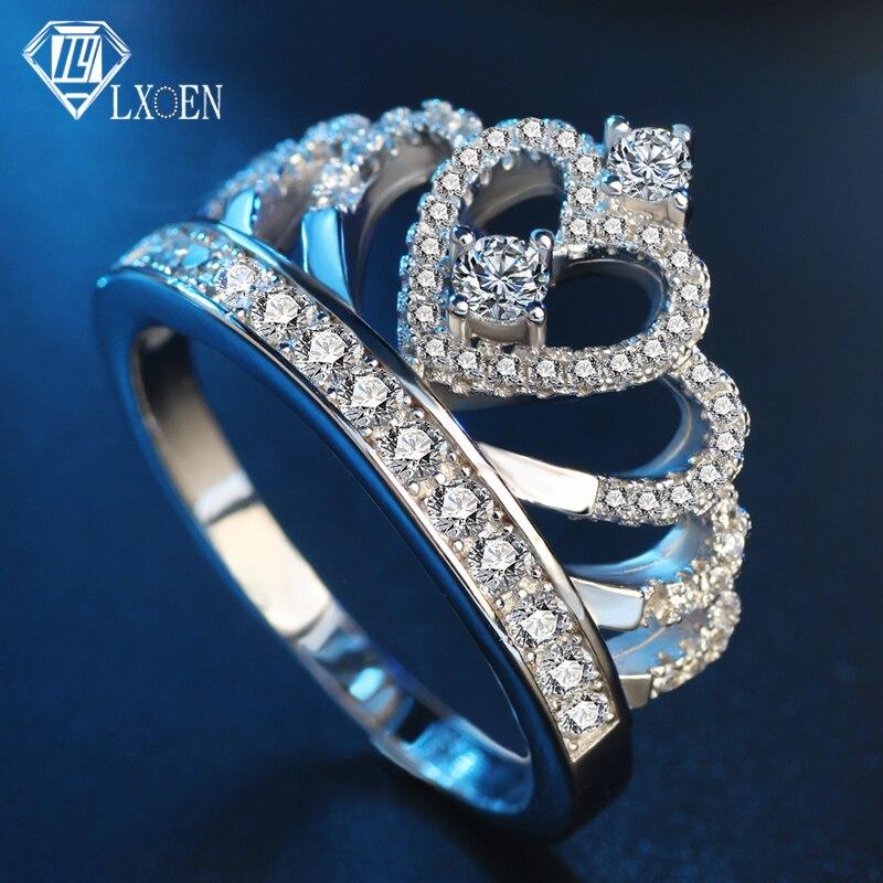 100% Wahr Lxoen Luxus Zirkon Königin Stil Ringe Für Frauen Kristall Crown Engagement Ring Partei Schmuck Zubehör Anillos Mujer Anel Bague