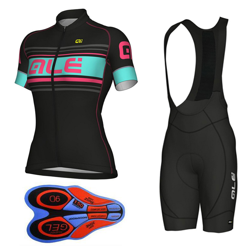 Ropa Ciclismo 2018 Women ALE Pro Cycling Jersey Team Short Sleeve Set MTB Bike Clothing Breathable Sportswear 9D Gel Pad