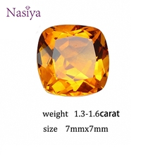 1.3-1.6 ct Carat 7mm Natural Yellow Citrine Crystal Section Brazil Square Beads Loose stone Fit For DIY Fine Jewelry Making