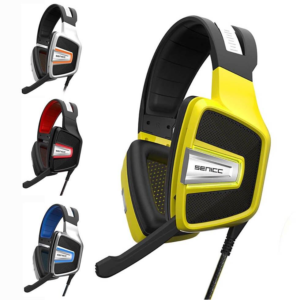 SENICC A8 Virtuel 7.1 PS4 LOL Stéréo PC USB Gaming Headset, LED avec suppression de Bruit Isolation Casque Gamer Pour Ordinateur Jeux