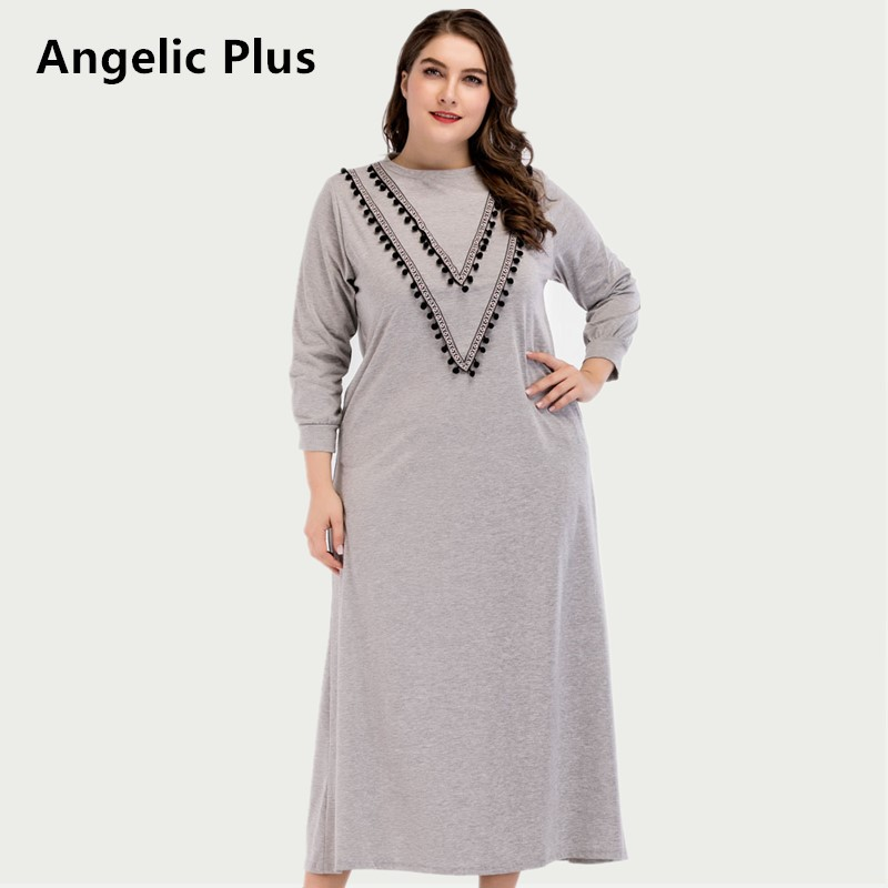 2018 Plus size Spring Autumn Max Long Dress Women Lady s Party Wedding Prom Elegant Solid