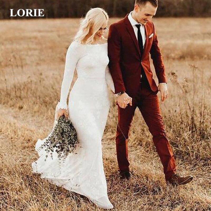 LORIE Beach Wedding Dresses 2019 Summer Wedding Dress Tulle with Lace vestido de noiva White Ivory