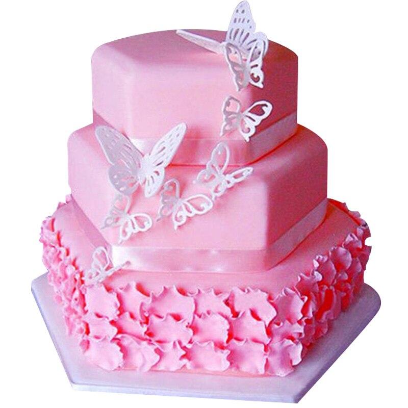2pcs Butterfly Fondant Mold Cookie Cutter Set Cake Decor Embosser Baking Tools