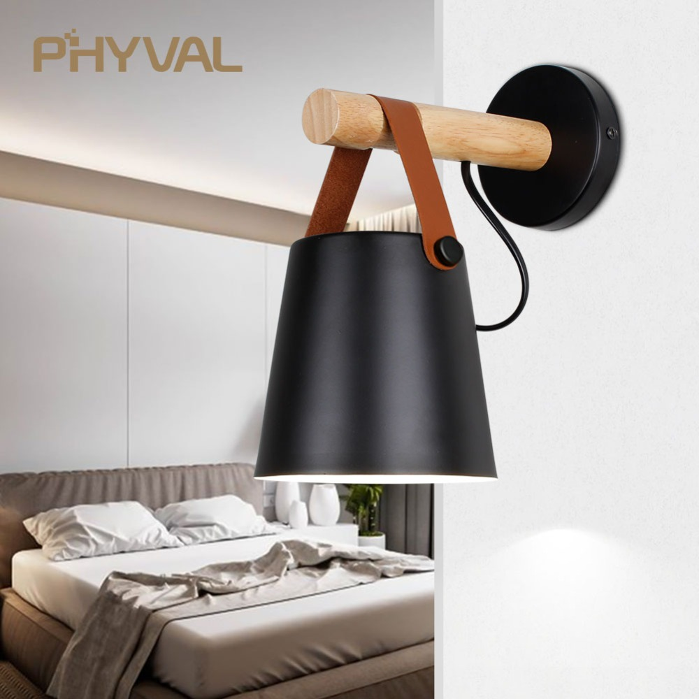 LED Wall Light Wood Wall Lamp Bed Bedside Light Night Lights Modern Nordic Lampshade Home Decor White & Black Belt E27 85-265V