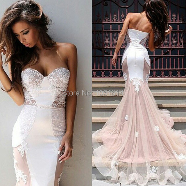 Cheap White Ivory Wedding Dresses Mermaid Lace Appliques: Vintage Mermaid Sleevelss Sweetheart Ivory Champagne White