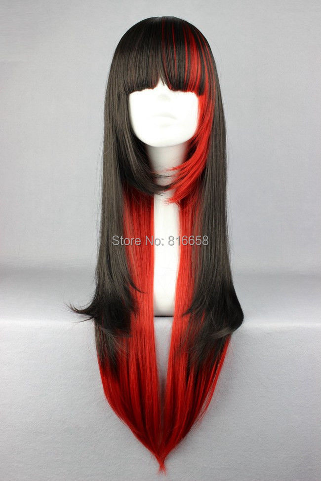 New Fashion Cheap Black Red 70cm Long Straight Cosplay ...