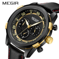 Megir Brand Luxury Fashion Leather Chronograph Sport Watch Men S Quartz Wrist Watches Black Gold Watch