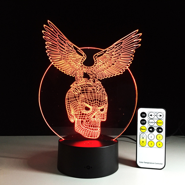 7 COLORS CHANGE 3D SKULL WITH EAGLE LED LAMP