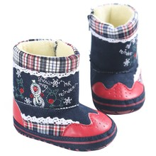 2017 kid baby girl shoes Classic Christmas baby soft soled boots infant toddler shoes thickening Plus cashmere Snow Boots