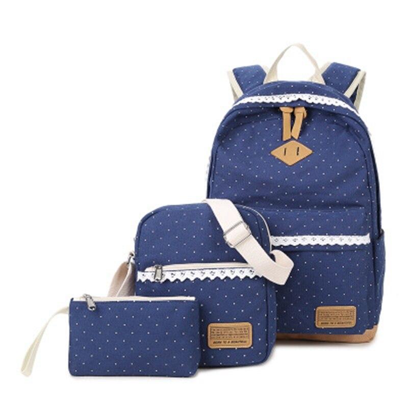 Mode sac à dos décontracté femme toile vague point étudiant sac multi-fonction trois pièces mère sac de voyage sac marée