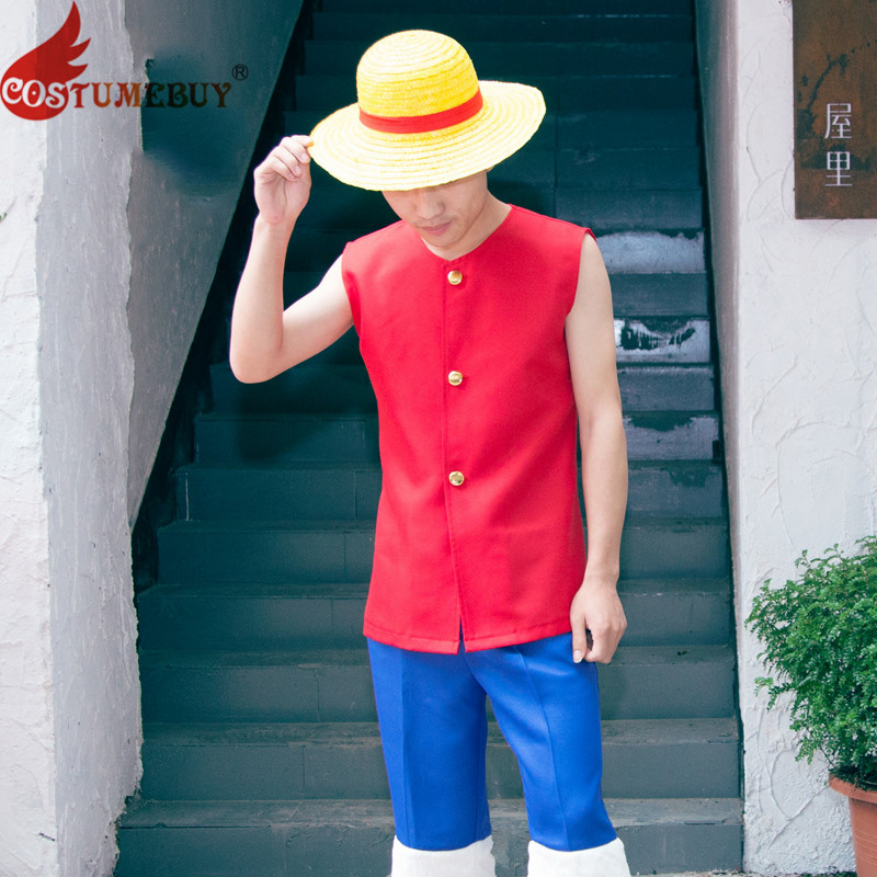 Costumebuy Anime One Piece Monkey D Luffy Cosplay Costume Set Coat Pants Sandals Shoes Hats For Adult Halloween Costumes
