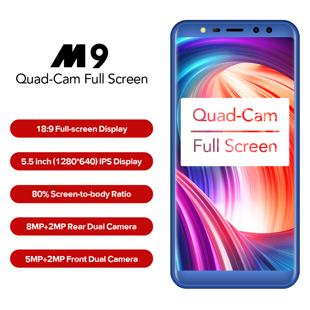 LEAGOO M9 3g Smartphone 5.5 18:9 Plein Écran Quatre-Cames Android 7.0 MT6580A Quad Core 2 gb + 16 gb 2850 mah D'empreintes Digitales Mobile Téléphone