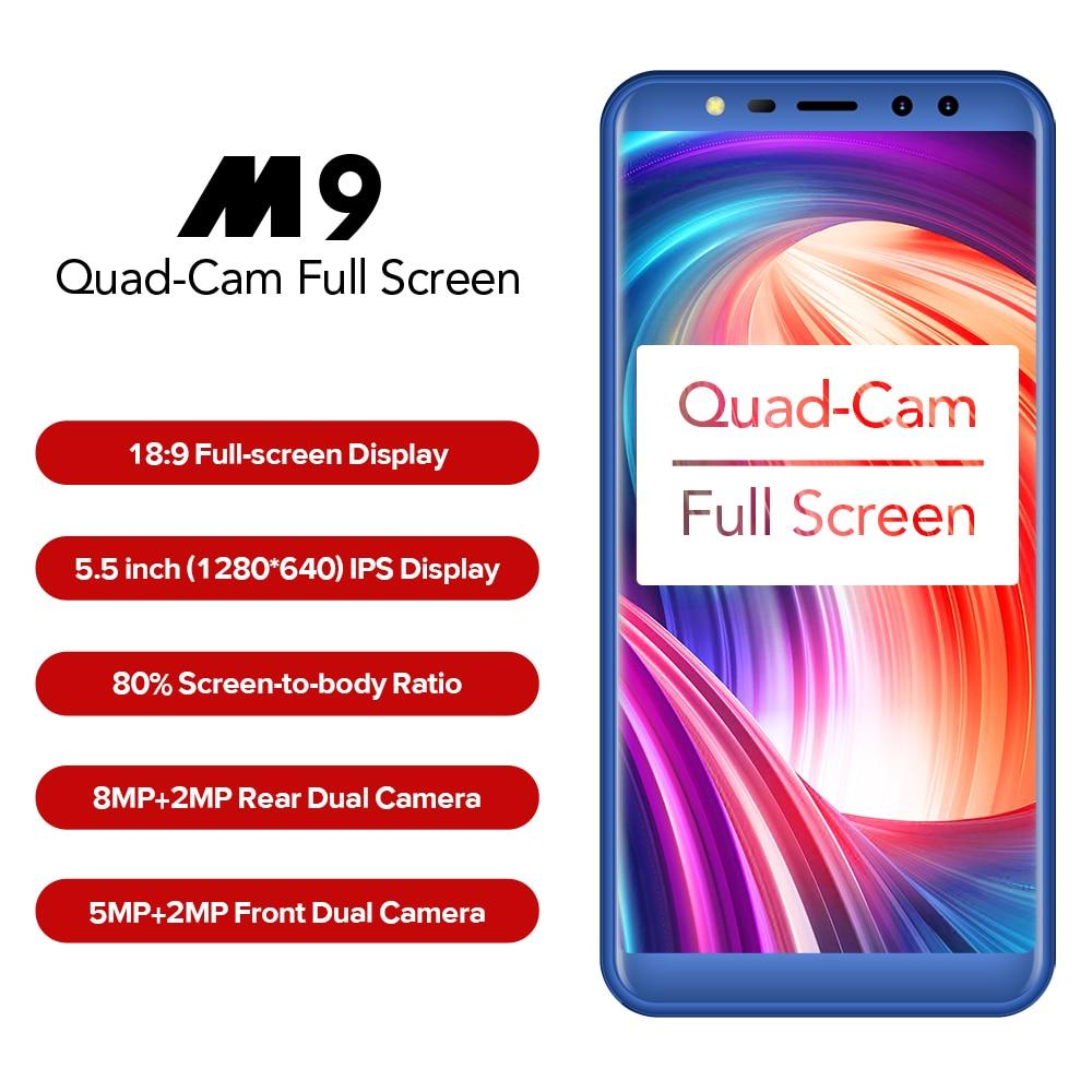 LEAGOO M9 3G Smartphone 5.5 18:9 Full Screen Four Cams Android 7.0 MT6580A Quad Core 2GB+16GB 2850mAh Fingerprint Mobile Phone