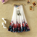 New large size women's national wind flowerprint chiffon skirt women high waist bust skirt bohemian long beach pleated skirts