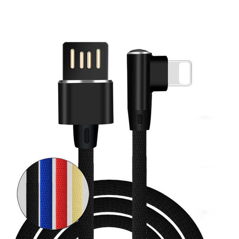 90 gradi 2.4A Veloce di Carico di Dati Cavo di Ricarica per iPhone 5 5s 6S 7 8 Più XR XS Max iPad Pro iPod Intrecciato Reversibile USB L Cavo