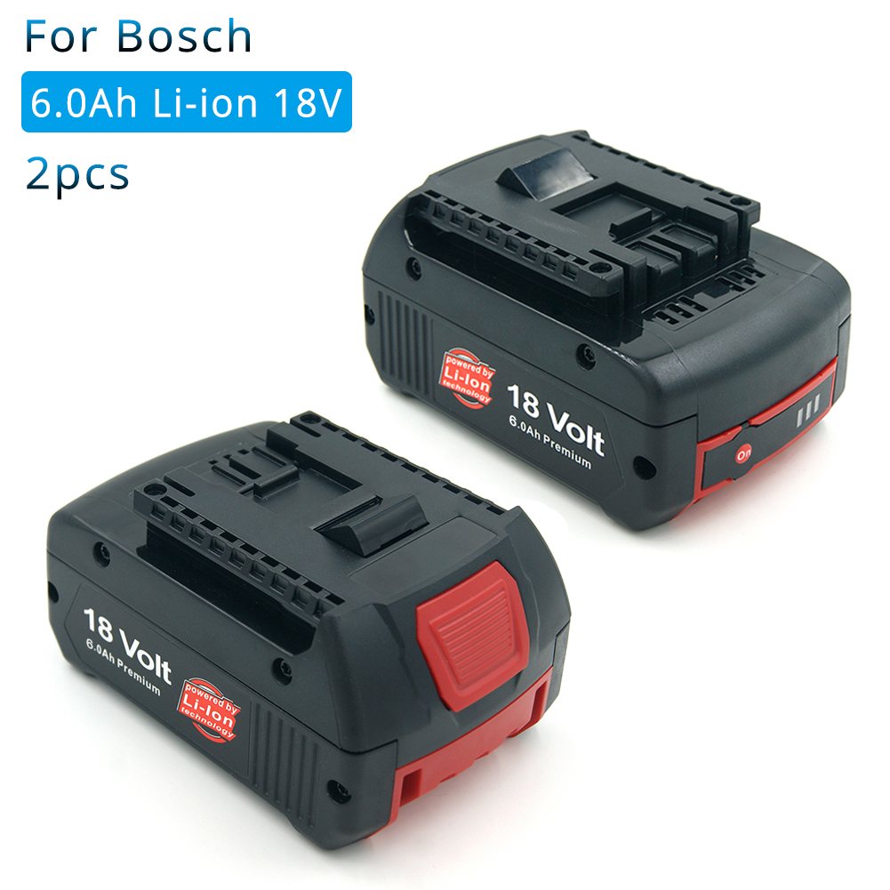 2 Pack 18V 6000mAh Lithium for Bosch Rechargeable Power Tool Battery BAT609 BAT610 BAT618 BAT619G BAT622 Batteria2 Pack 18V 6000mAh Lithium for Bosch Rechargeable Power Tool Battery BAT609 BAT610 BAT618 BAT619G BAT622 Batteria