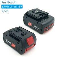 2 Pack de litio de 18 V 6000 mAh para la batería de la herramienta eléctrica recargable Bosch BAT609 BAT610 BAT618 BAT619G BAT622 Batteria