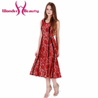 Wonder beauty red Lace patchwork sleeveless O neck Slightly transparent daily sexy elegant casual work office dress rompers