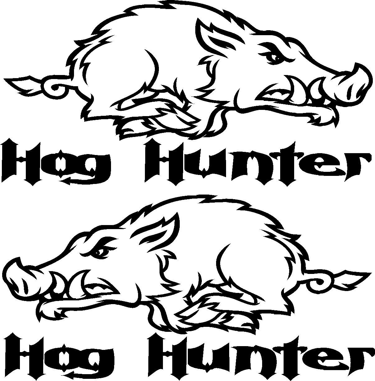 For Car Sticker Pair Of Hog Hunter Wild Pig Graphic Decal