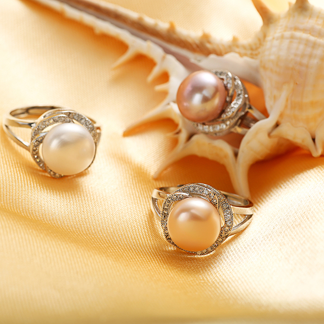 Women 925 sterling silver big natural white pink purple pearl adjustable ring