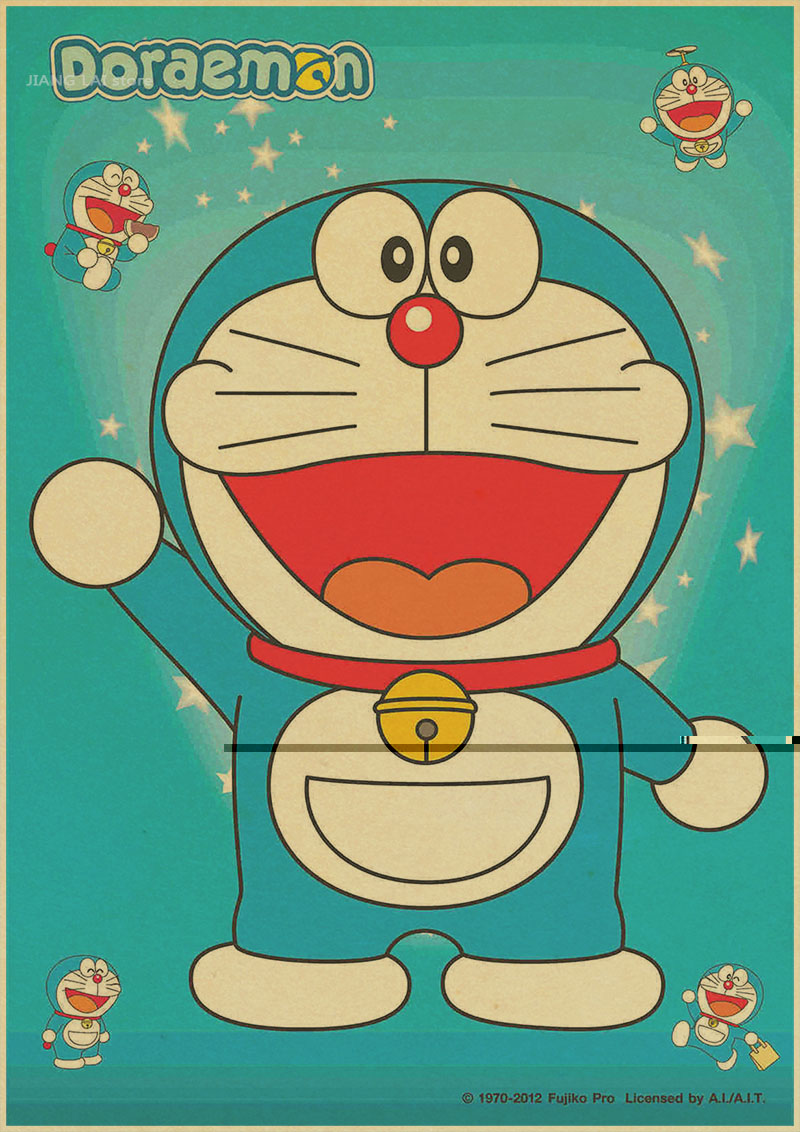 Us 171 5 Offretro Cartoon Movie Poster Doraemon Brown Paper Decorative Painting Core Stickers Comic Draw Printed Wallpaper Picture Mural In Wall