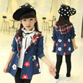 Kids Girls Denim Jacket 2016 Spring New Children's Clothing Fashion Slim and Long Sections Trench Coat Tops