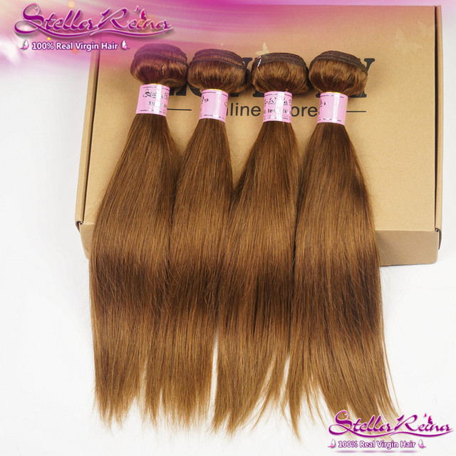 Stella Reina Chestnut Brown Hair 4 Pcs Bundles Color 8 Light Peruvian Remy