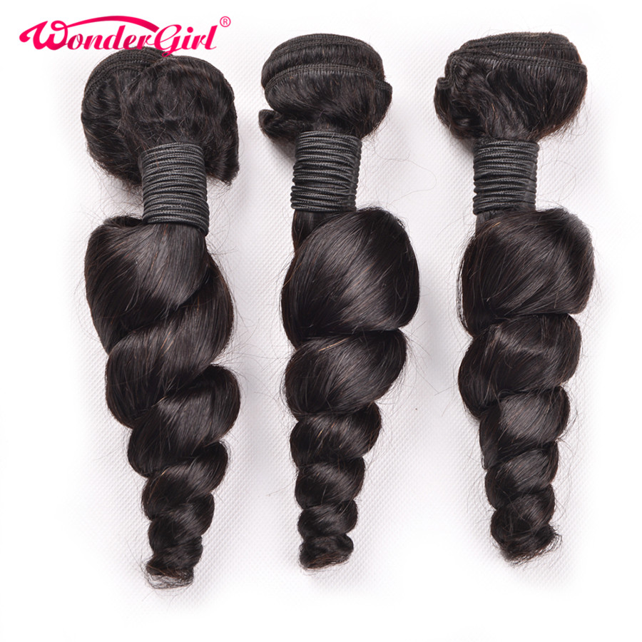 Ear To Ear Lace Frontal Closure With Bundles Brazilian Loose Wave Bundles With Frontal Wonder girl 100% Remy Human Hair Bundles-in 3/4 Bundles with Closure from Hair Extensions & Wigs    2