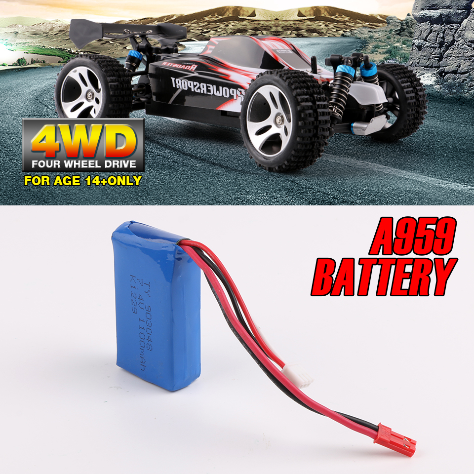 New Wltoys A959 RC Car Battery 7.4V 1100mAh Lipo Battery 4WD Off-Road Vehicle Kid Toys Spare Parts wltoys spare 2pcs drive shaft for a202 rc off road car
