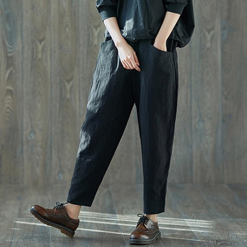 2018 Women High Waist Harem Pants Pockets Vintage Cotton Linen Elastic Solid Long Trousers Casual Baggy Basic Pantalon Plus Size