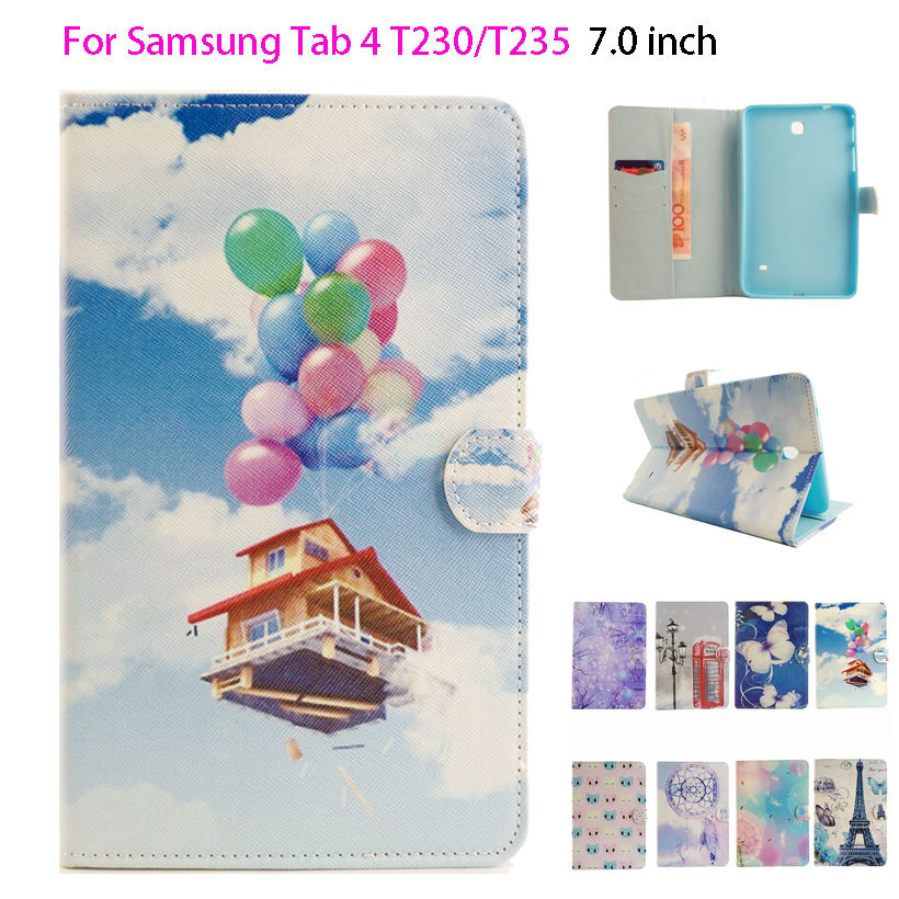 Cartoon Painted Flip Silicon Leather Case For Samsung Galaxy Tab 4 7.0 T230 T231 T235 SM-T230 Case Cover Tablet Funda Shell чехол для планшета 0asis samsung tab4 t230 t230 7 for galaxy tab 4 t230