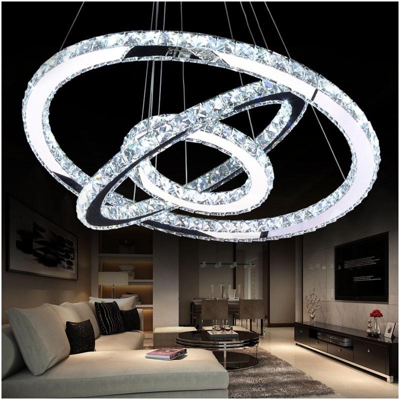 LED Crystal Chandelier Light Modern LED Circle Chandelier Lamp Hanging Lustres LED Ring Lighting Home Decoration