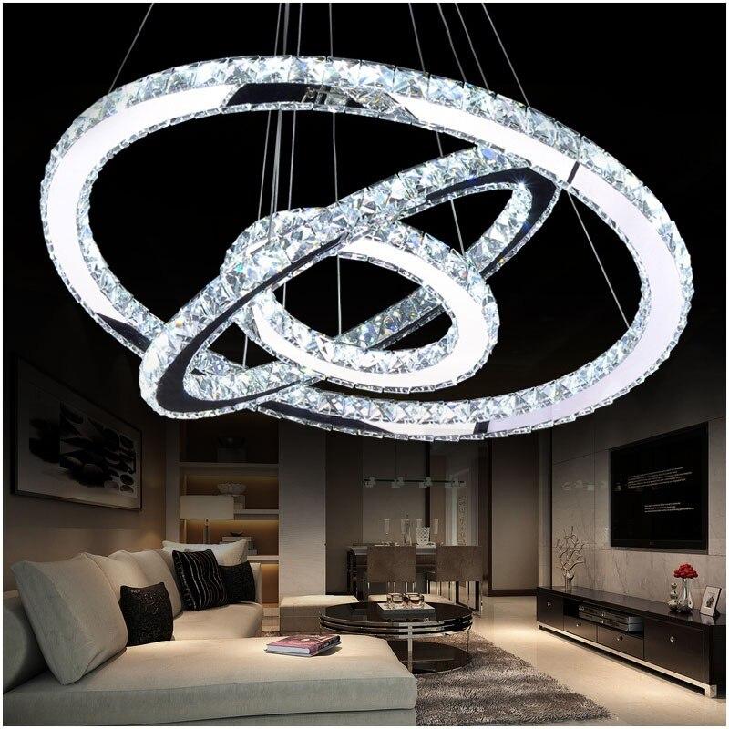 LED Diamond Ring Crystal Chandelier Light Modern LED Circle Chandelier Lamp / Lights / Light Fixture Ready Stock  car