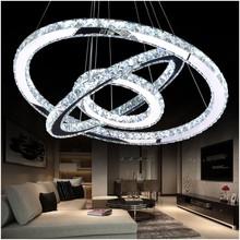 LED Crystal żyrandol światło nowoczesne LED Circle żyrandol Lampa wisząca Lustres LED Ring oświetlenie Home Decoration tanie tanio Żyrandole 90-260v 110V 220V Klina MD61008825 Przełącznik pokrętła Montaż Semiflush Polerowana stal MEEROSEE (w)