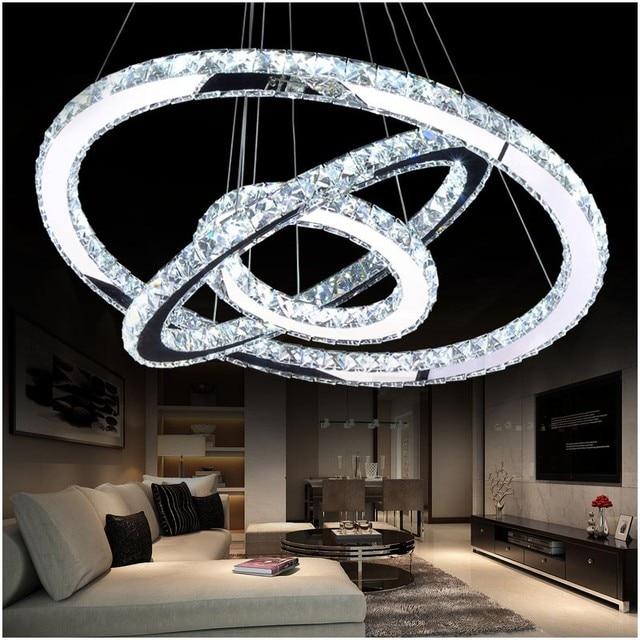 Led kristal chandelier ringan led moderen lingkaran chandelier lampu gantungan lustre led lingkaran lighting rumah dekorasi