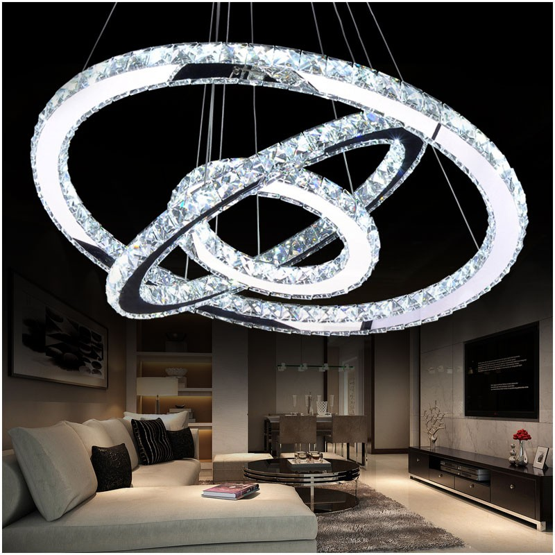 LED Kristall Kronleuchter Licht Moderne LED Kreis Kronleuchter Lampe Hängen Lüster LED Ring Beleuchtung Hause Dekoration