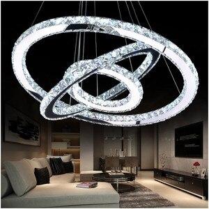 Image 1 - LED كريستال الثريا ضوء الحديثة LED دائرة مصباح نجف معلقة Lustres LED حلقة الإضاءة ديكور المنزل