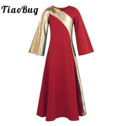 TiaoBug дети Западный Золотой ремень свободные макси халат платье для танцев Святой праздник обувь девочек Бальные лирические