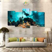 3-4-5 Pieces Diving Underwater Wall Art Paintings Pictures Canvas Picture For Living Room Printed HD Painting