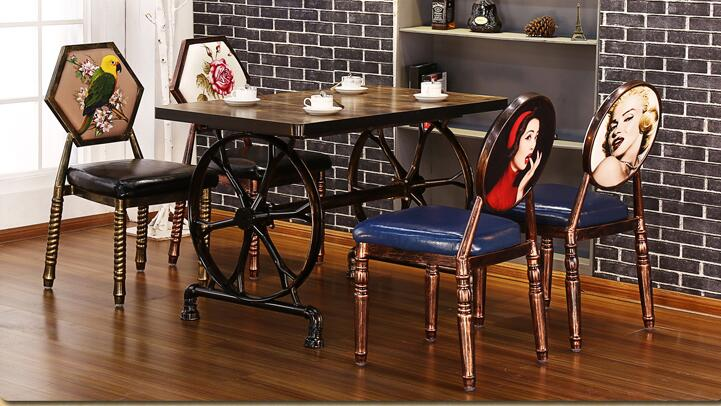 Retro chairs and tables do old bar table and chair. The hotel desk and chair milk tea shop eat desk and chair western restaurant coffee tables and chairs cake shop furniture dessert table