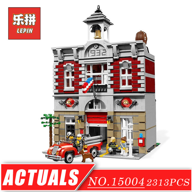 LEPIN 15004 Street View Series Doll House City Street Fire Brigade Set DIY Model Building Kits Blocks Bricks Children Toys Gift lepin 15015 5003pcs street view series dinosaur museum model building blocks set bricks toys for children wange gift