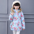 New 2016 Children Winter Coat For Girls Plus Thick Velvet Floral Cotton-Padded Fashion Fur Collar Hooded Long JacketKid Clothing